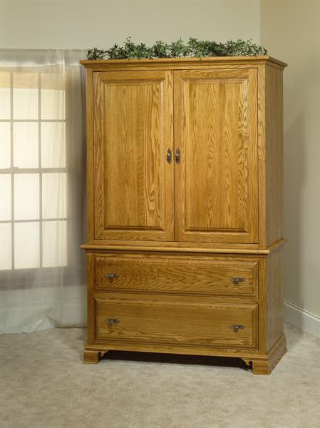 Amish Traditional Sleigh 2 Piece Armoire